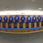 Chelsea FC Locker Room with all Jerseys of the Players from the Championship 2014-15 Season.