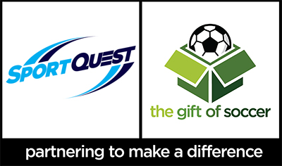 The gift of soccer logo dual brand sportquest